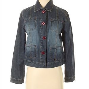 Chico's Denim Jacket with Pink Rhinestone Buttons